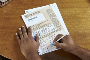 Census form being completed