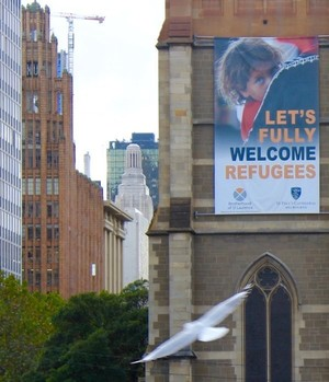Brotherhood of St Laurence, welcome refugees poster